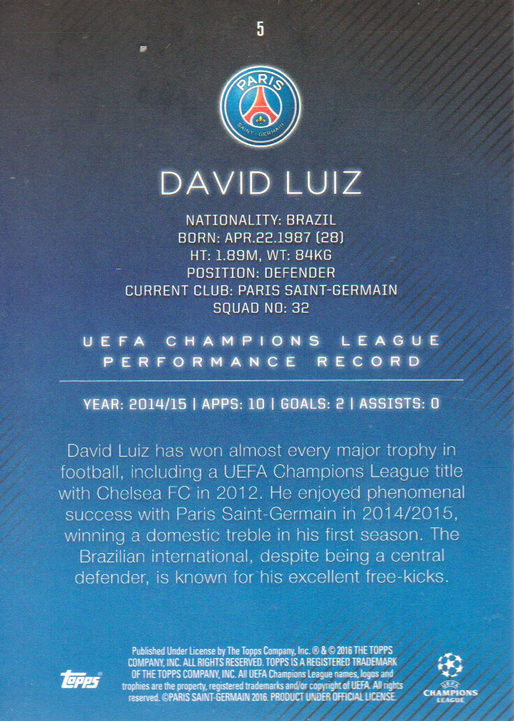 2015 16 Topps UEFA Champions League Showcase Soccer