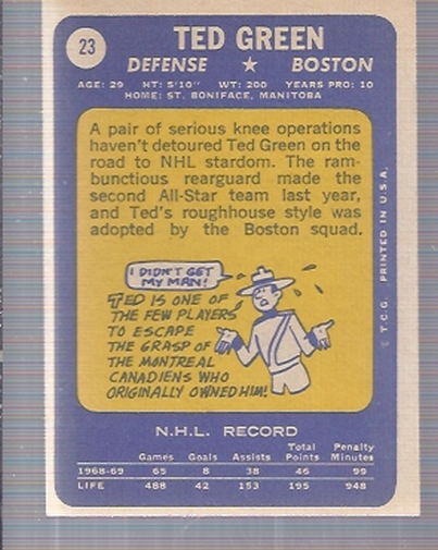 1969-70 Topps #23 Ted Green back image