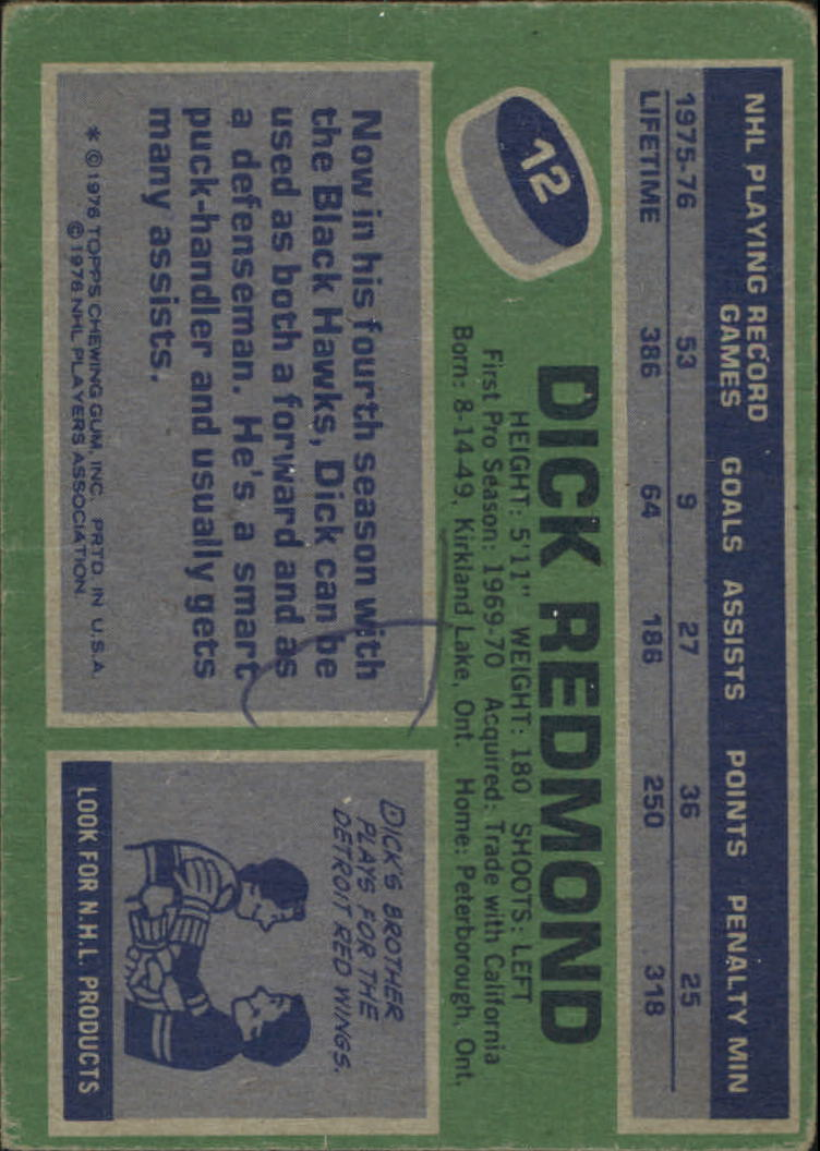 1976-77 Topps #12 Dick Redmond back image