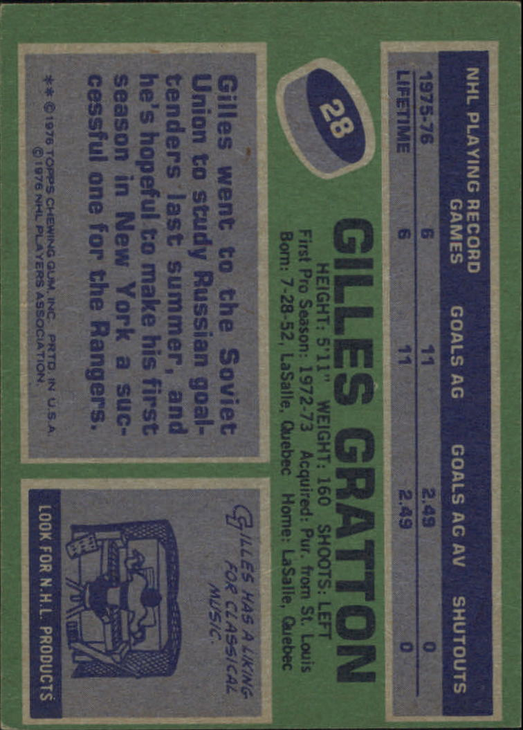 1976-77 Topps #28 Gilles Gratton back image