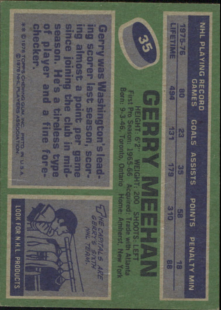1976-77 Topps #35 Gerry Meehan back image