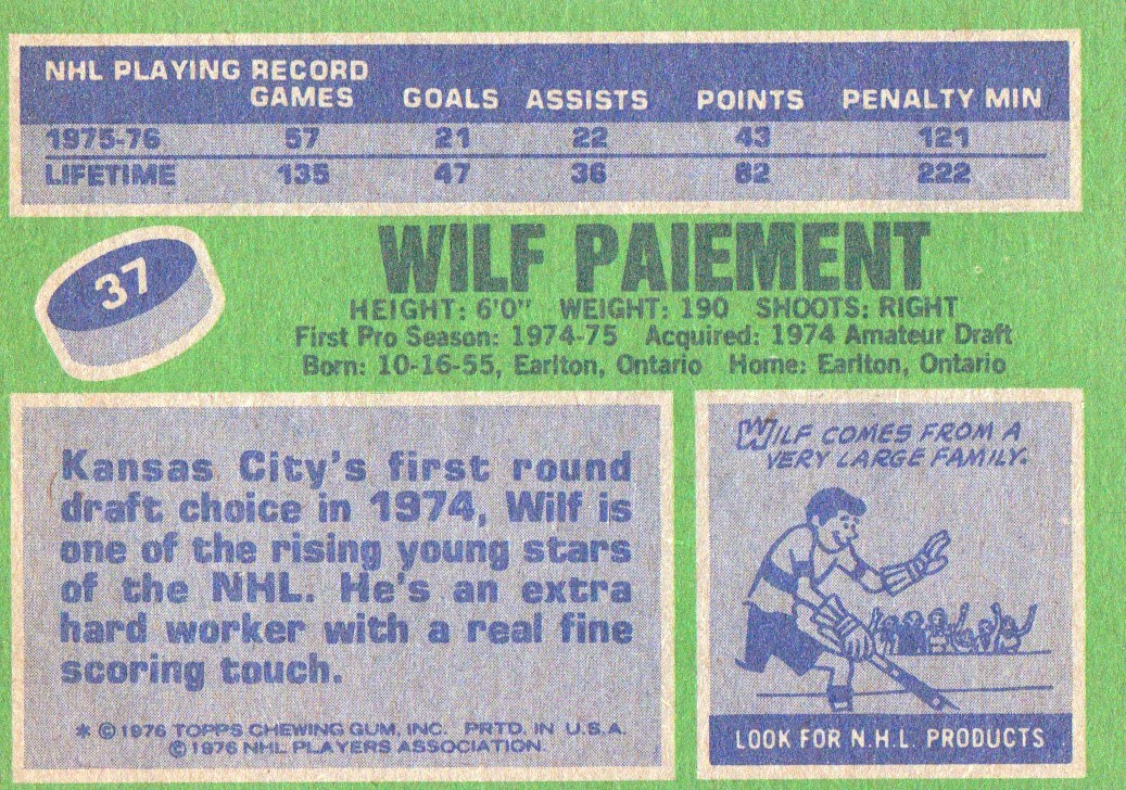 1976-77 Topps #37 Wilf Paiement back image