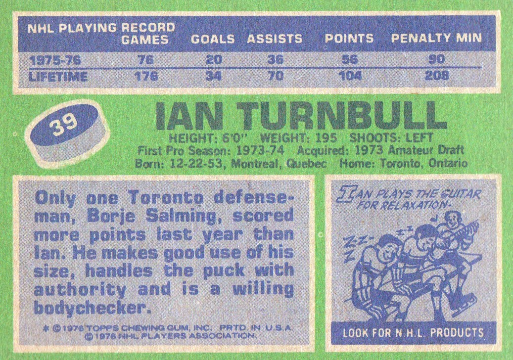 1976-77 Topps #39 Ian Turnbull back image