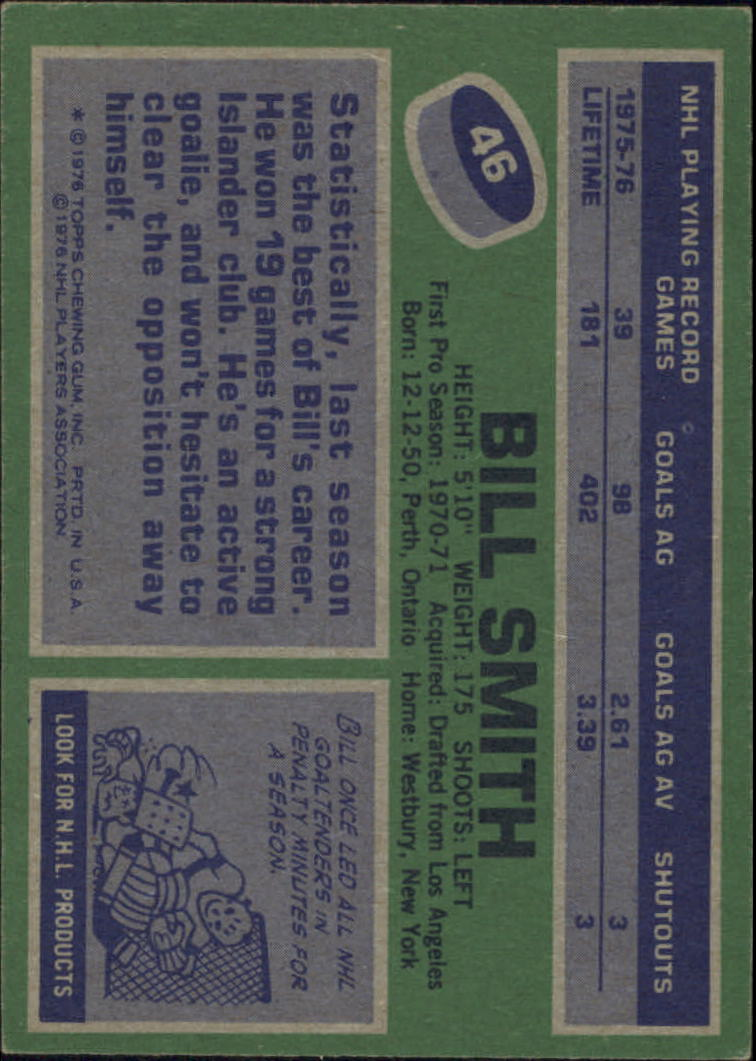 1976-77 Topps #46 Billy Smith back image