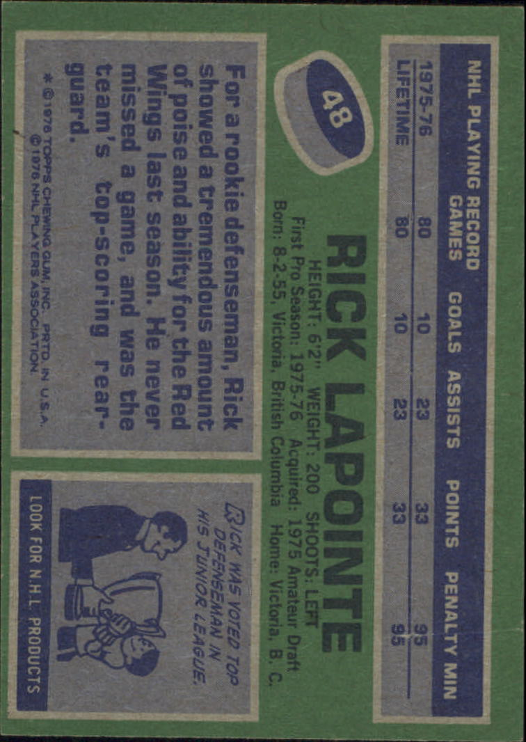 1976-77 Topps #48 Rick Lapointe RC back image