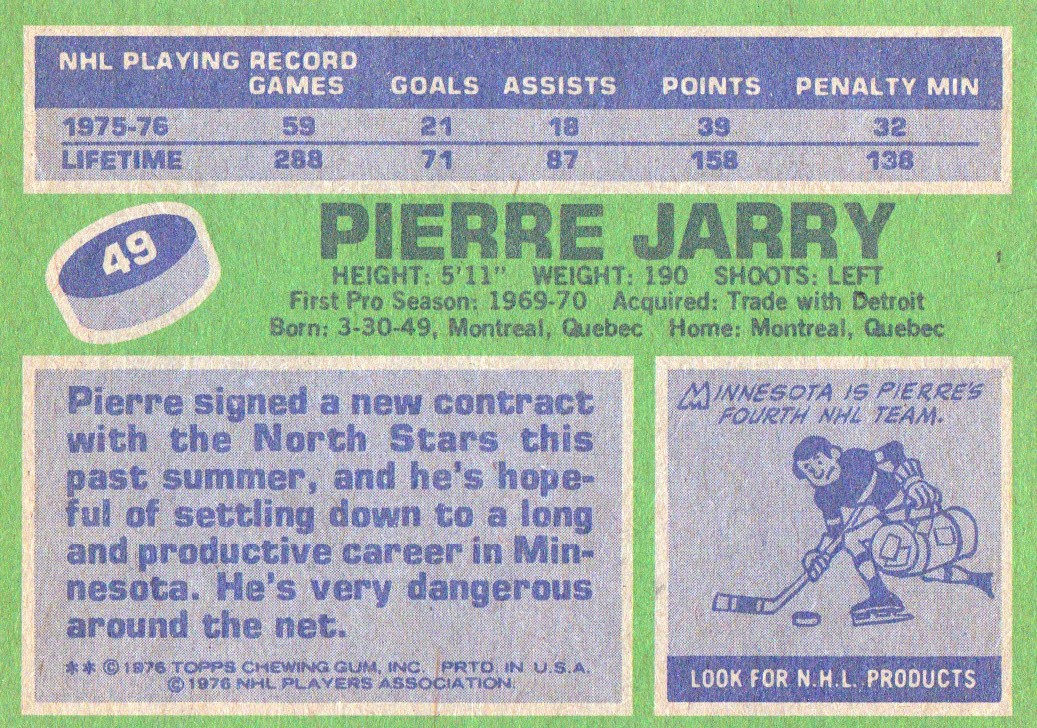 1976-77 Topps #49 Pierre Jarry back image