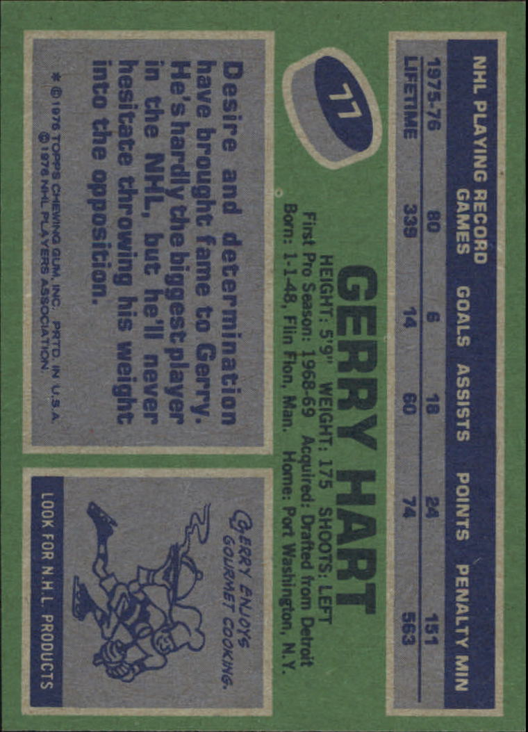 1976-77 Topps #77 Gerry Hart back image