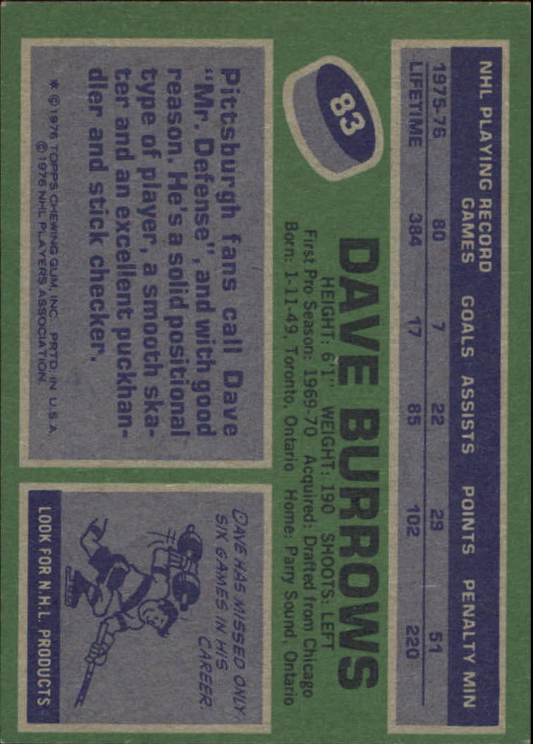 1976-77 Topps #83 Dave Burrows back image