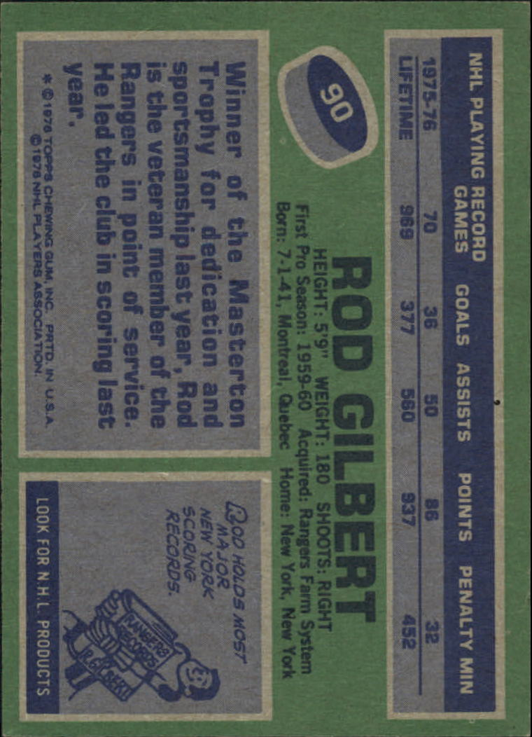 1976-77 Topps #90 Rod Gilbert back image