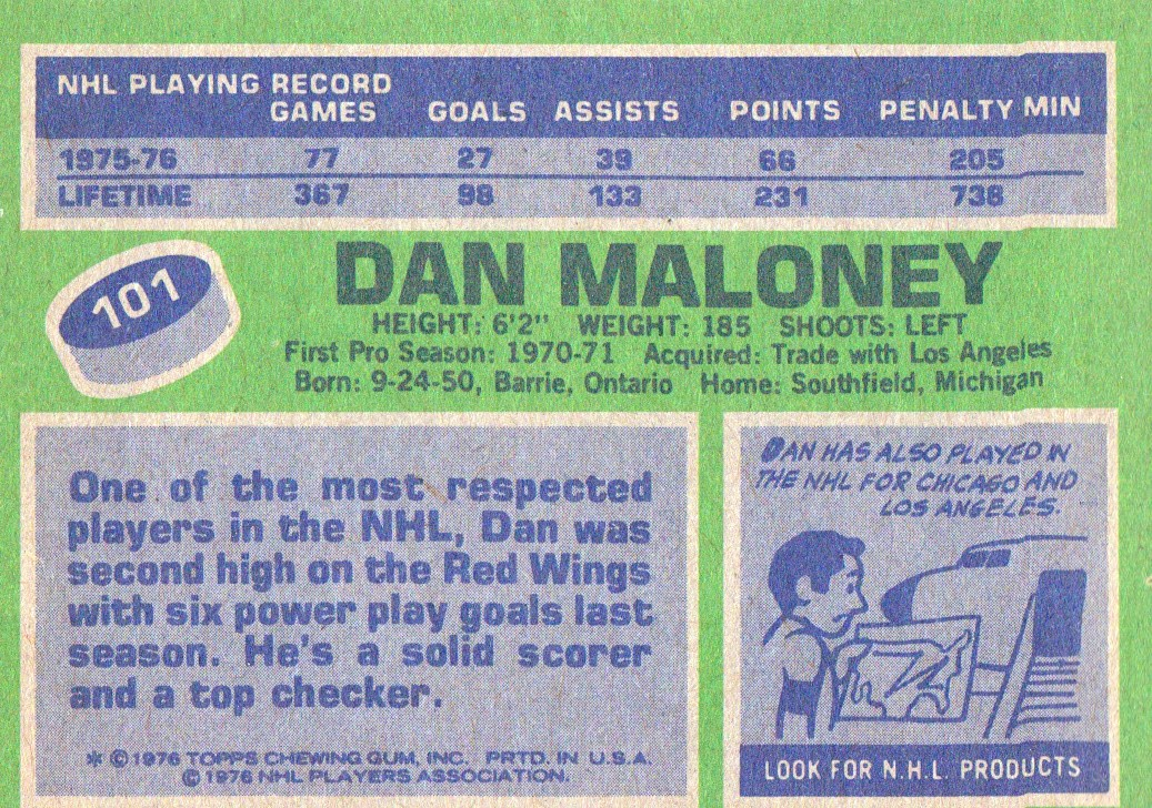 1976-77 Topps #101 Dan Maloney back image