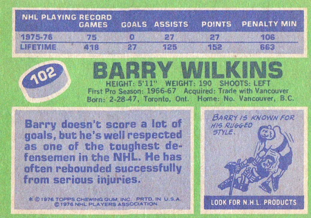 1976-77 Topps #102 Barry Wilkins back image
