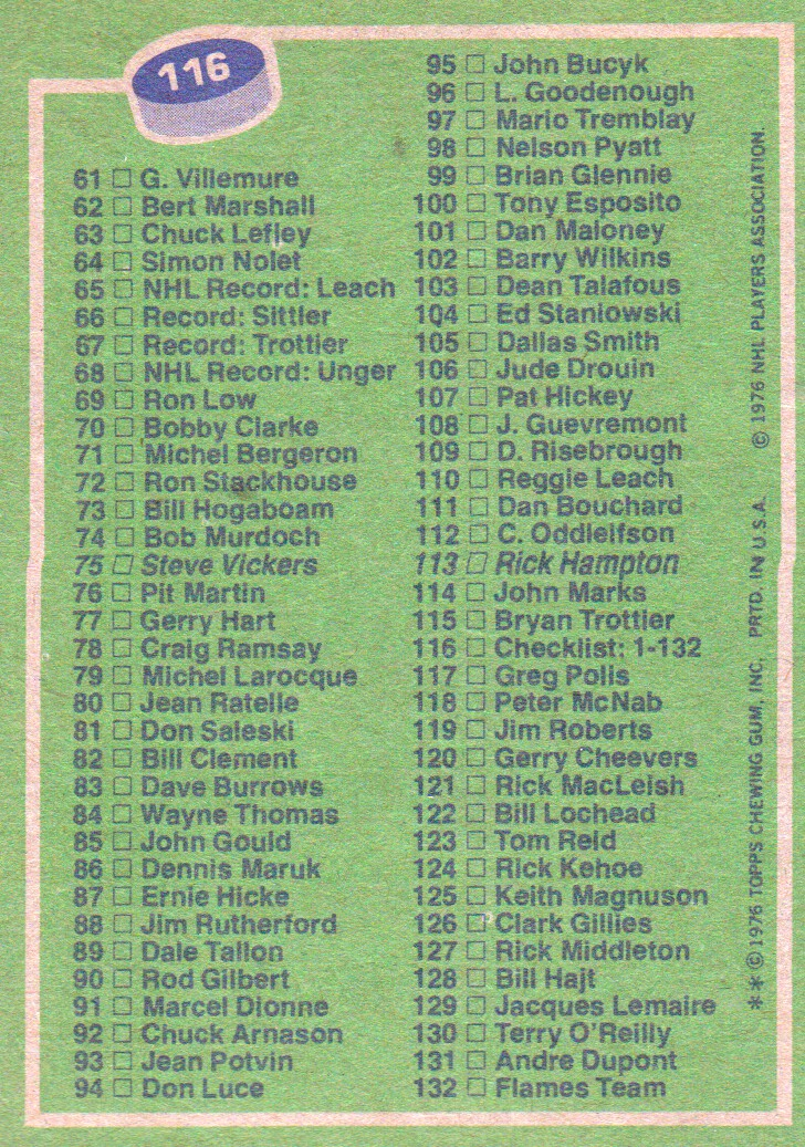 1976-77 Topps #116 Checklist 1-132 back image