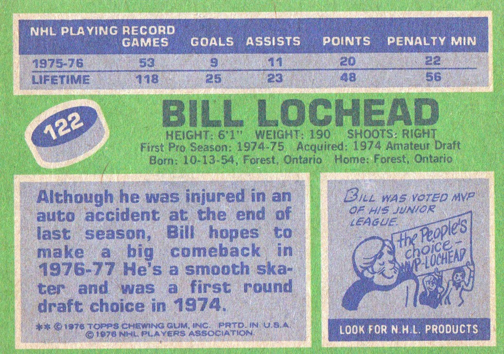 1976-77 Topps #122 Billy Lochead back image