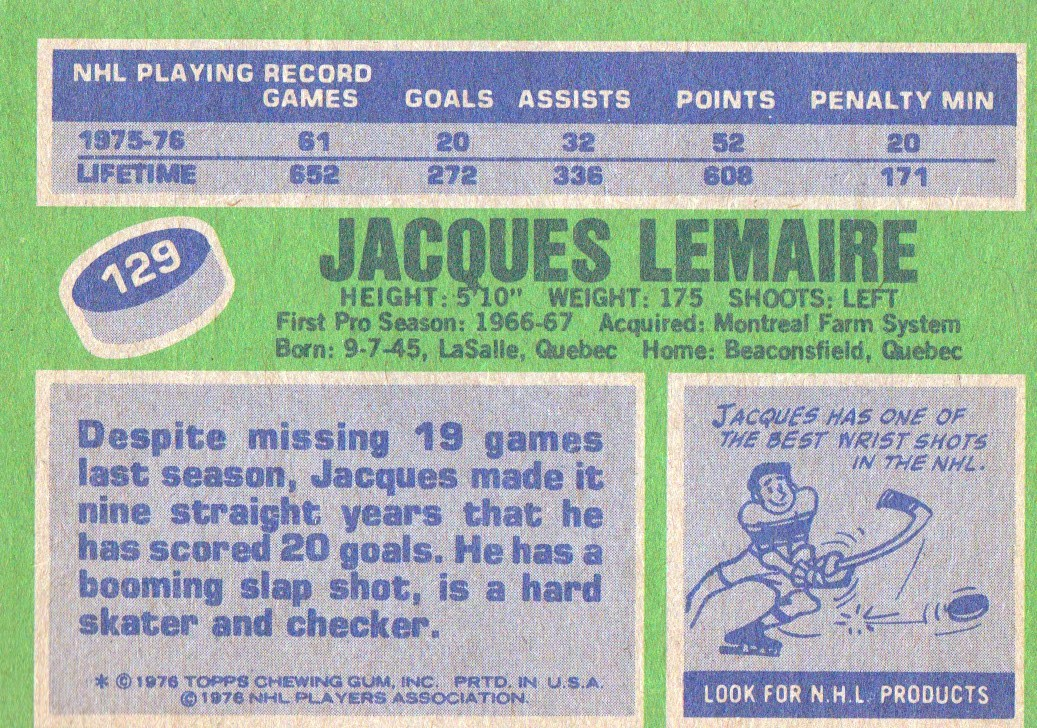 1976-77 Topps #129 Jacques Lemaire back image