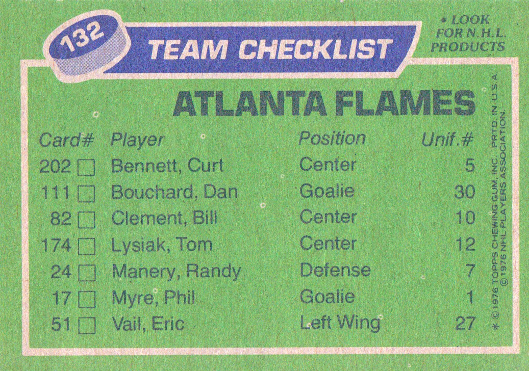 1976-77 Topps #132 Flames Team CL back image