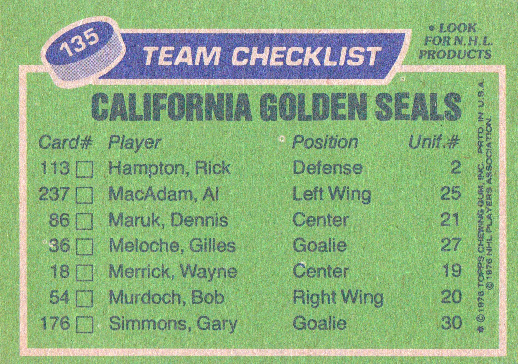 1976-77 Topps #135 Seals Team CL back image