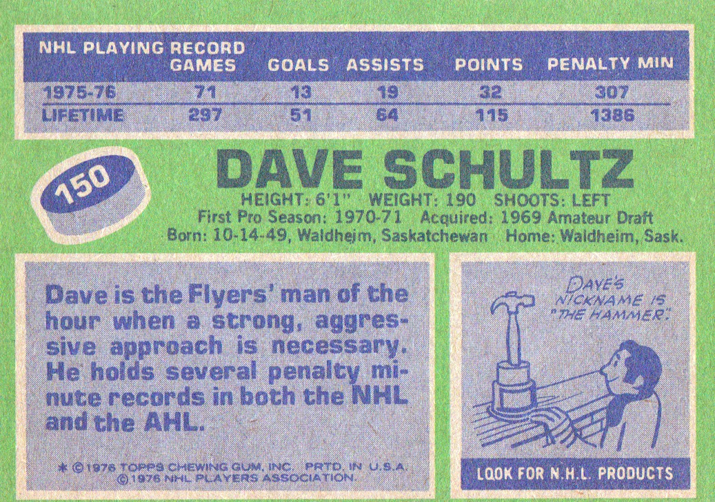 1976-77 Topps #150 Dave Schultz back image
