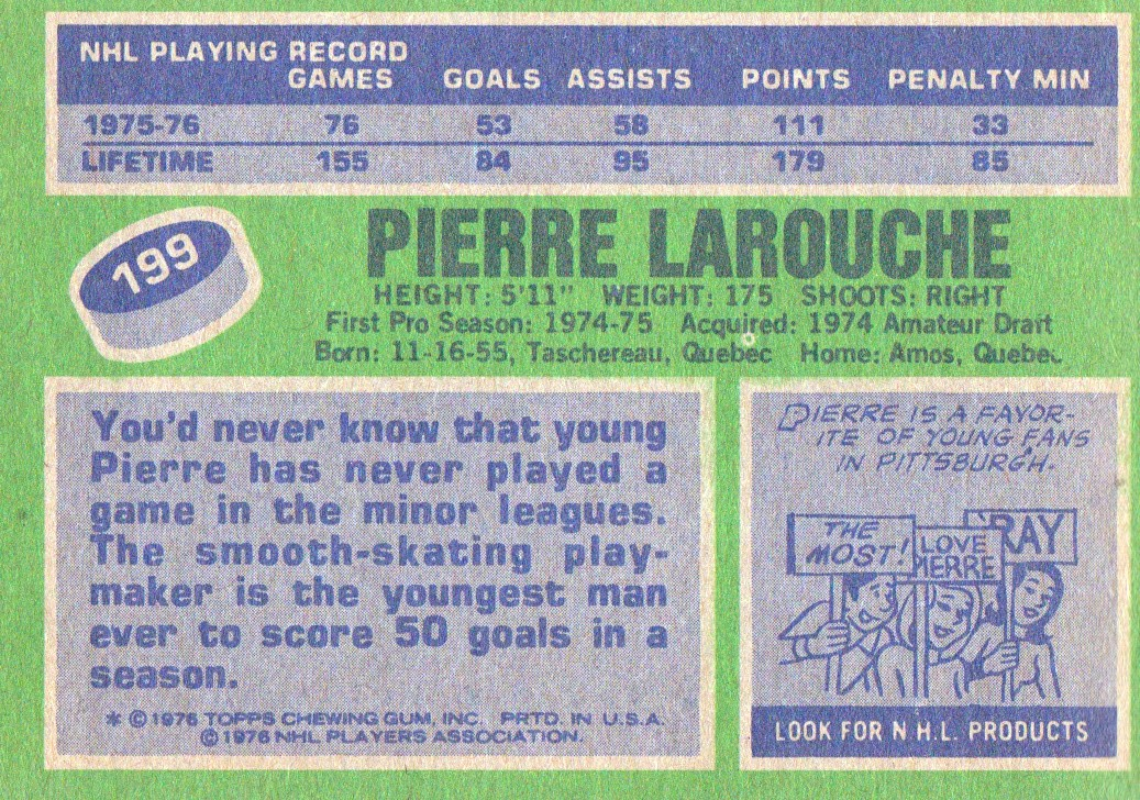 1976-77 Topps #199 Pierre Larouche back image