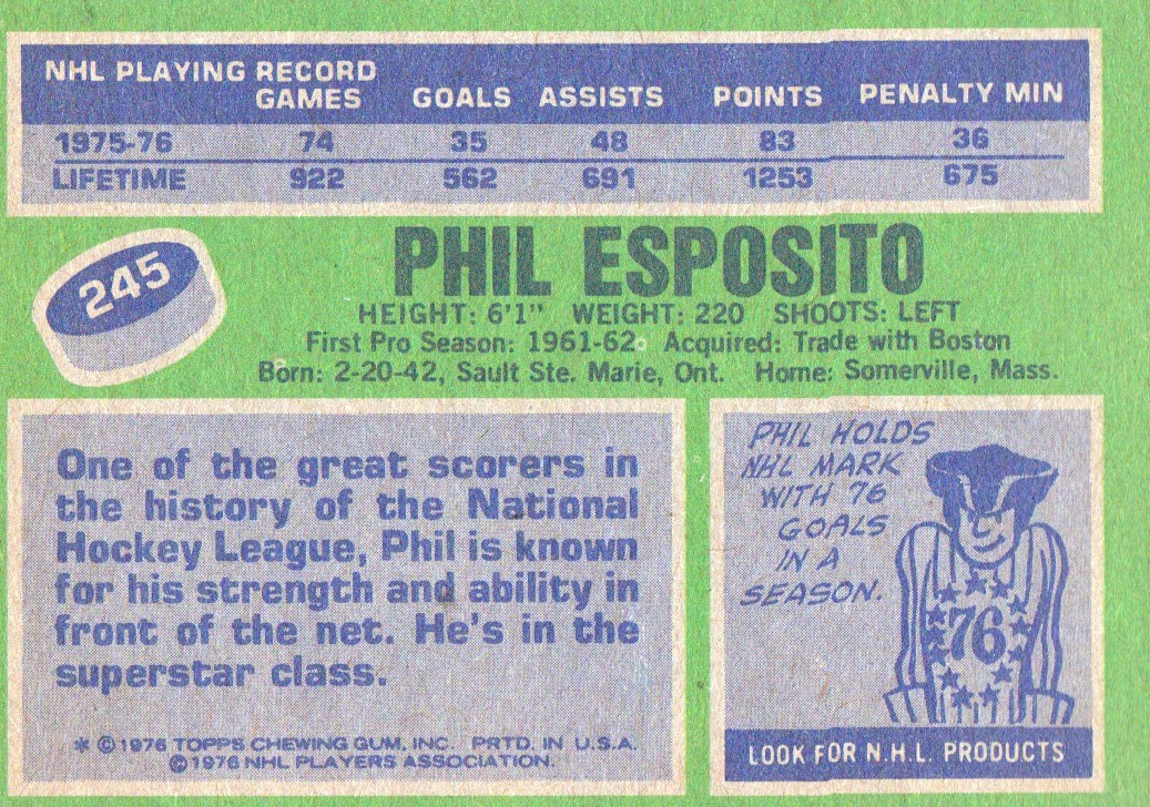 1976-77 Topps #245 Phil Esposito back image