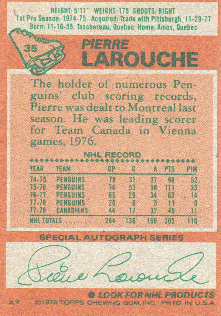 1978-79 Topps #35 Pierre Larouche back image