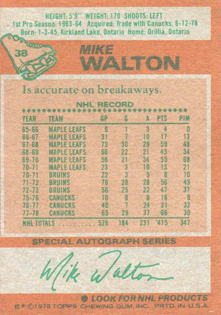 1978-79 Topps #38 Mike Walton back image