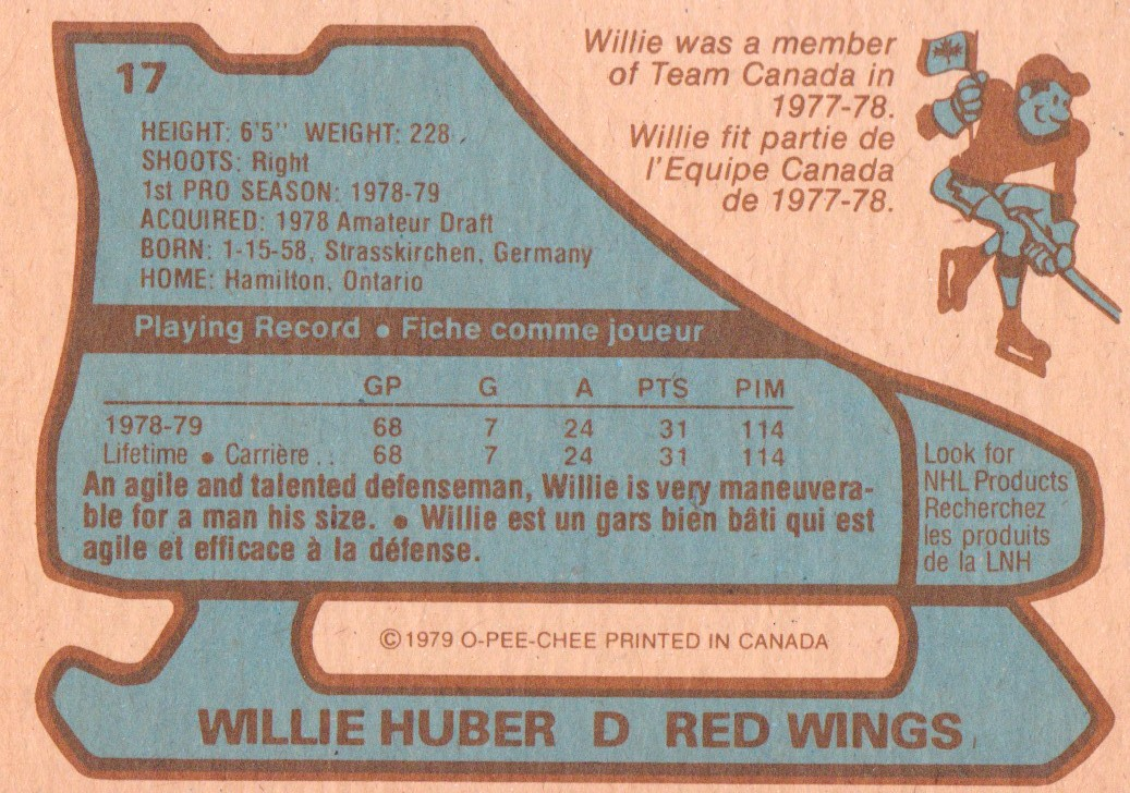 1979-80 O-Pee-Chee #17 Willie Huber RC back image