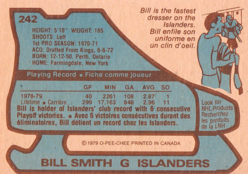 1979-80 O-Pee-Chee #242 Billy Smith back image