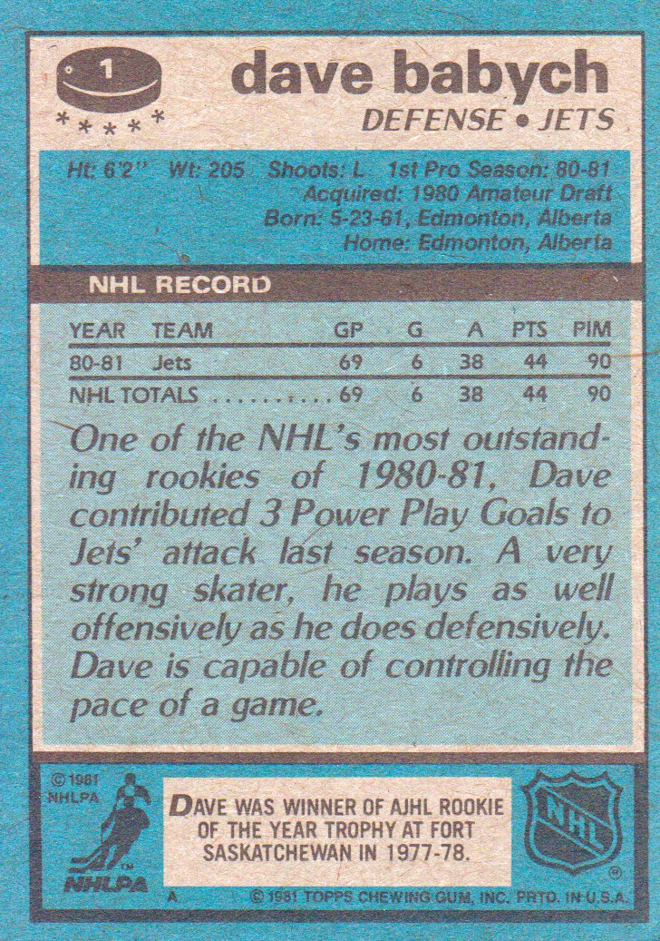 1981-82 Topps #1 Dave Babych RC back image