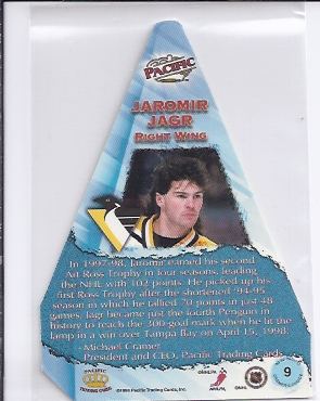1998-99 Pacific Cramer's Choice #9 Jaromir Jagr back image