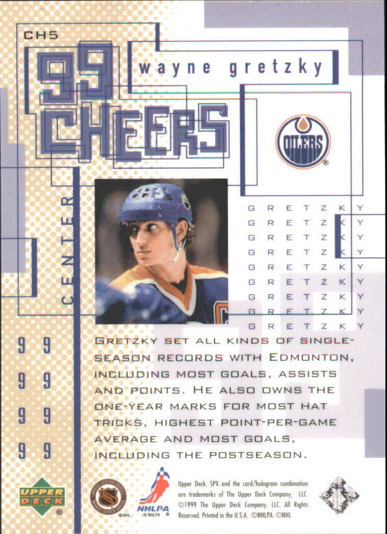1999-00 SPx 99 Cheers #CH5 Wayne Gretzky back image