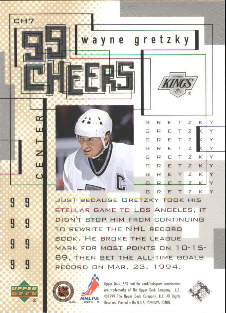 1999-00 SPx 99 Cheers #CH7 Wayne Gretzky back image
