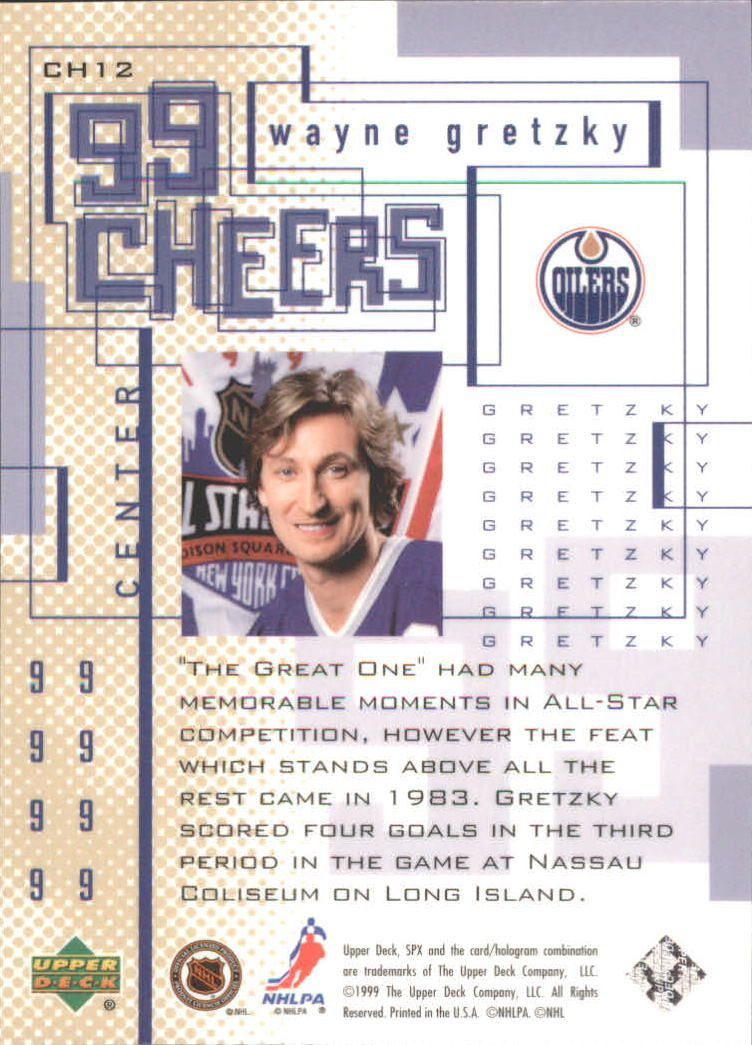 1999-00 SPx 99 Cheers #CH12 Wayne Gretzky back image