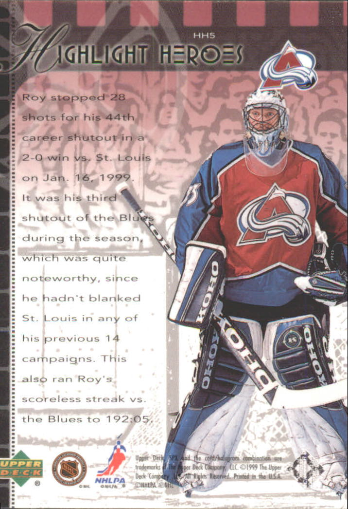 1999-00 SPx Highlight Heroes #HH5 Patrick Roy back image