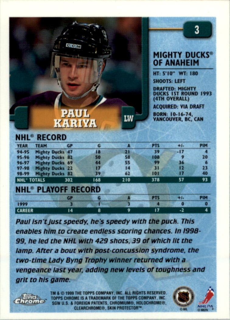 1999-00 Topps Chrome #3 Paul Kariya back image