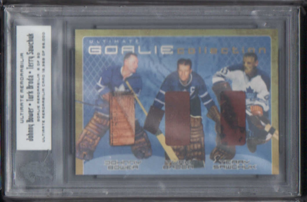 2000-01 BAP Ultimate Memorabilia Goalie Memorabilia #GM19 Johnny Bower/Turk Broda/Terry Sawchuk