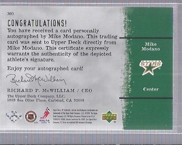 2000-01 SP Authentic Sign of the Times #MO Mike Modano back image