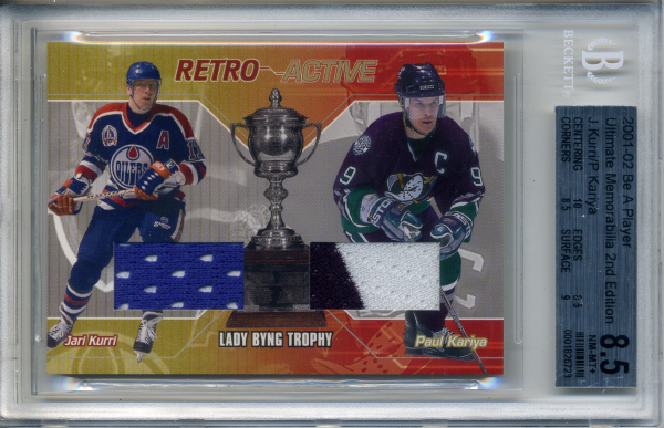 2001-02 BAP Ultimate Memorabilia Retro Trophies #7 Jari Kurri/Paul Kariya/Lady Byng Trophy