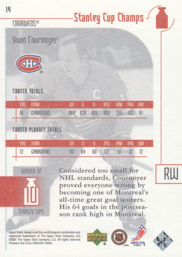 2001-02 UD Stanley Cup Champs #14 Yvan Cournoyer back image