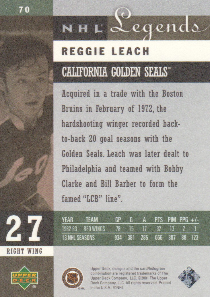 2001-02 Upper Deck Legends #70 Reggie Leach back image