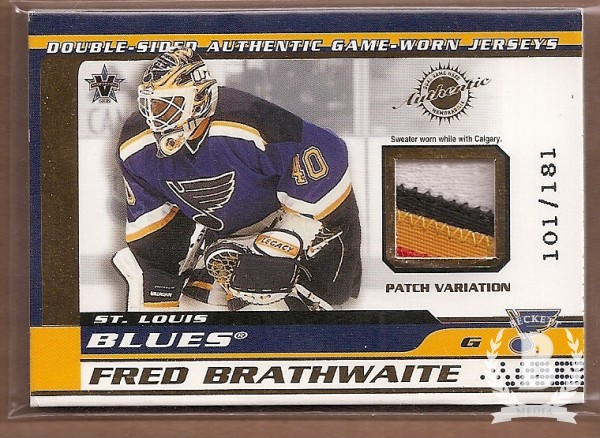 2001-02 Vanguard Patches #5 Fred Brathwaite/Roman Turek