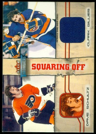 2002-03 Fleer Throwbacks Squaring Off Memorabilia #2 Dave Schultz JSY/Clark Gillies JSY