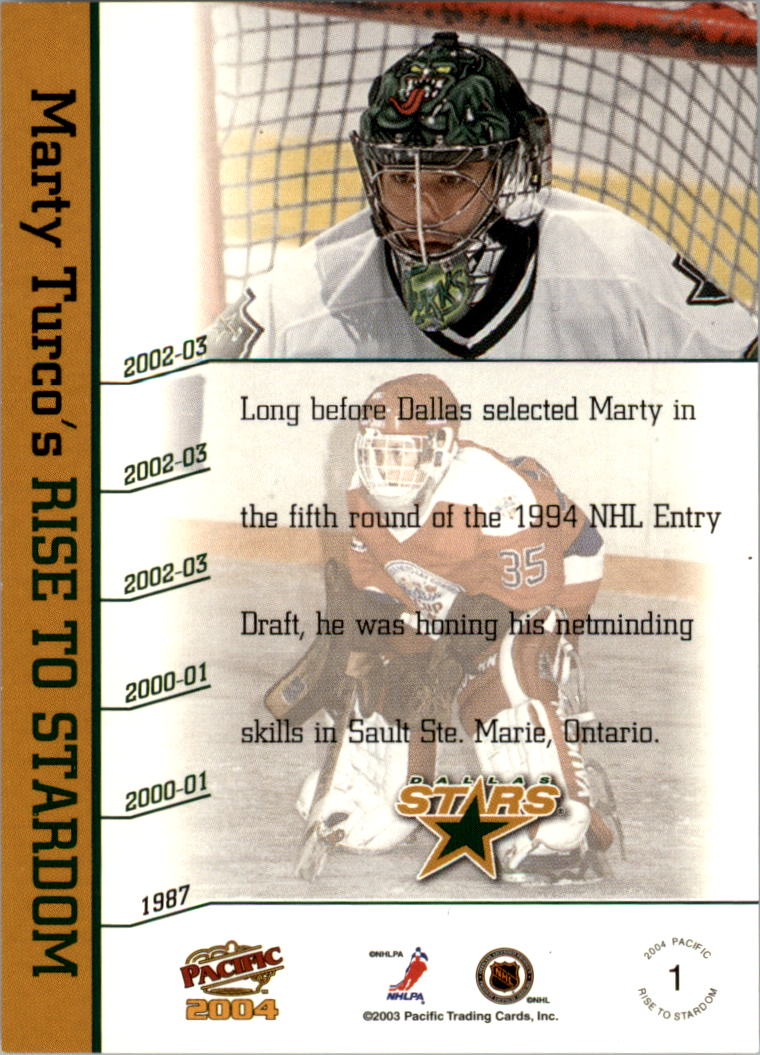 2003-04 Pacific Marty Turco Autographs #1 Marty Turco/1987 back image