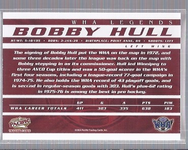 2004 Pacific WHA Autographs #1 Bobby Hull back image