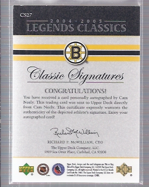2004-05 UD Legends Classics Signatures #CS27 Cam Neely SP back image