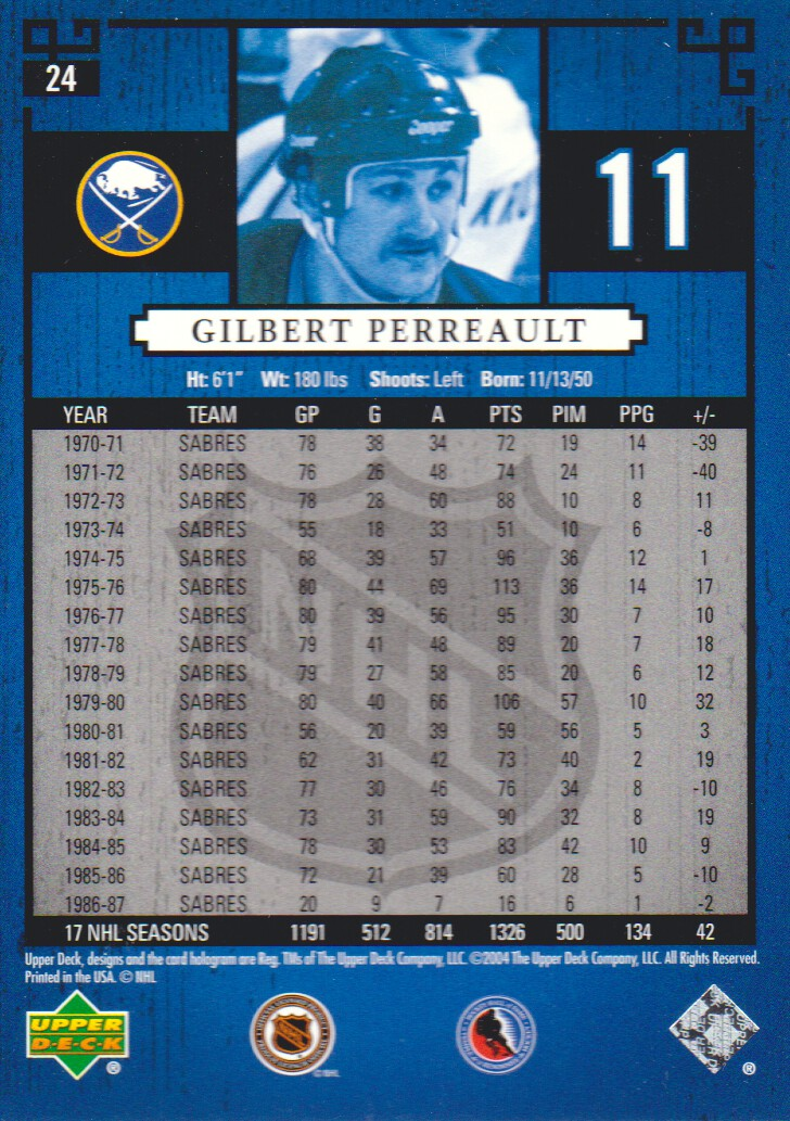 2004-05 UD Legends Classics #24 Gilbert Perreault back image