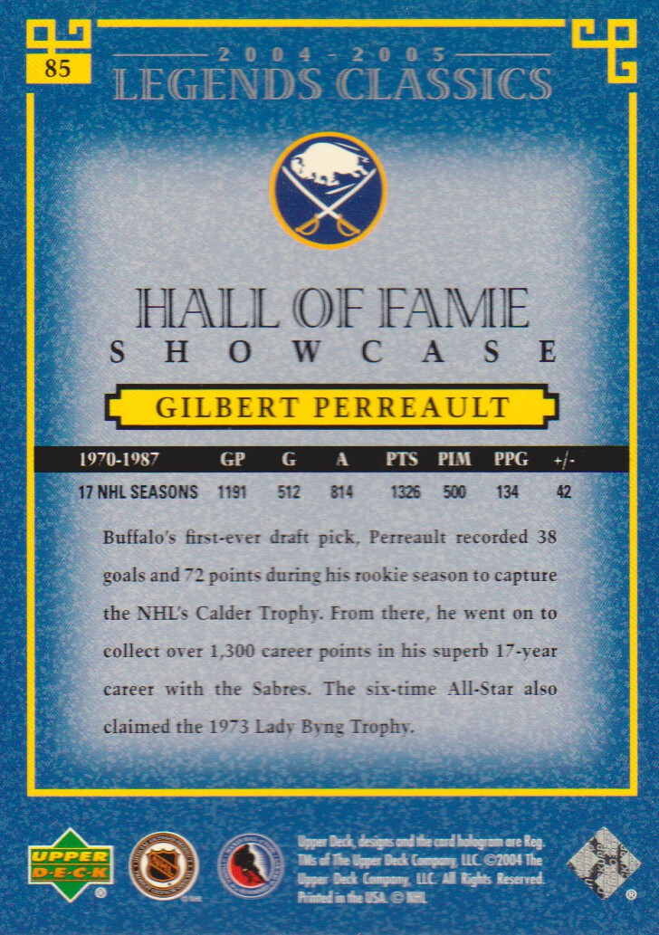 2004-05 UD Legends Classics #85 Gilbert Perreault back image