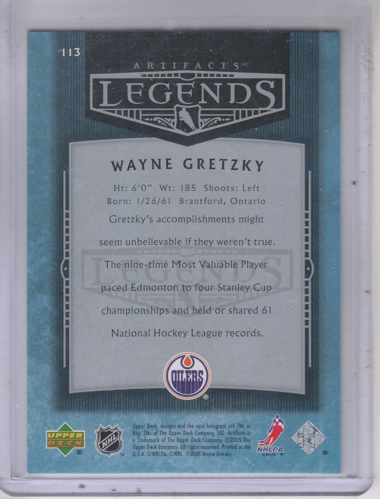 2005-06 Artifacts #113 Wayne Gretzky AL back image