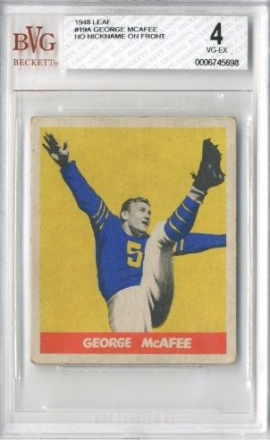 1948 Leaf #19A George McAfee RC/(no nickname on front)