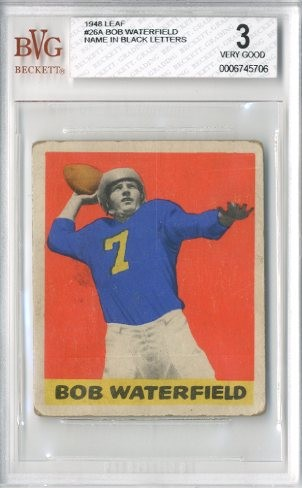 1948 Leaf #26A Bob Waterfield BL RC/(Black name on front)
