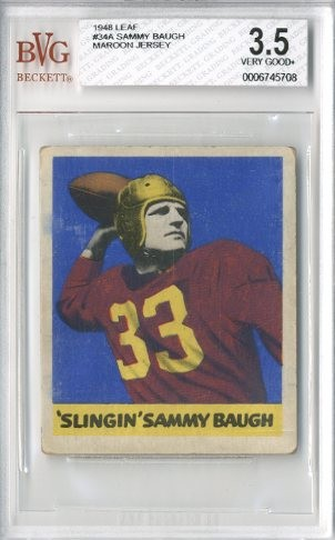 1948 Leaf #34A Sammy Baugh MJ RC/(Maroon jersey)